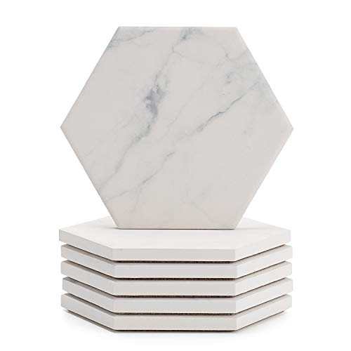 Sweese 3413 White Marble Pattern Absorbent Ceramic Coasters for Drink with Cork Back, Prevent Furniture from Dirty, Spills, Water Ring and Scratched, Set of 6 ()