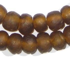 45 Bawku Bumblebee Fused Recycled Glass Beads 14mm Powder Glass Beads Matte Glass Beads Glass Round Beads Ghanaian Glass Beads