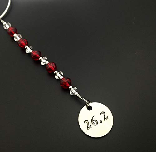 26.2 Marathon Icicle Wine Bottle Charm/Ornament/Gift Tag - Icicle Christmas Ornament/Bottle Tag/Gift Tag with Round Pewter 26.2 Charm with Jewelry Box - Handmade with Red Vintage Beads