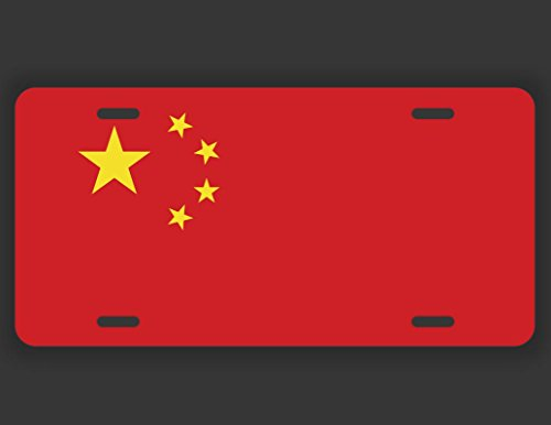 China Flag License Plate Tag Vanity Novelty Metal | UV Printed Metal | 6-Inches By 12-Inches | Car Truck RV Trailer Wall Shop Man Cave | (China Flag License Plate)