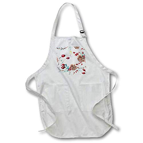 3dRose Anne Marie Baugh - Christmas - Elegant Image of Watercolor Pinecone Candle - Full Length Apron with Pockets 22w x 30l (apr_318532_1) ()
