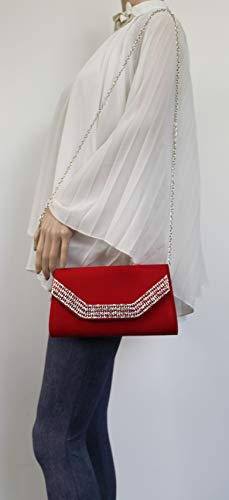 Ladies Diamante Clutch Harper SWANKYSWANS Womens Suede Faux Red Bag wfHSxApq
