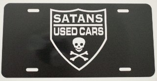SATANS USED CARS LICENSE PLATE