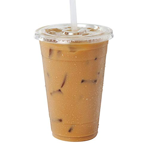 [50 Pack] 20 Ounce BPA-Free Clear Plastic Cups With Flat Slotted Lids for Iced Cold Drinks Coffee Tea Smoothie Bubble Boba, Disposable, Large Size