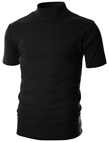 Ohoo Mens Slim Fit Flice Short Sleeve Pullover Lightweight Mockneck/DCT105-BLACK-M by Ohoo