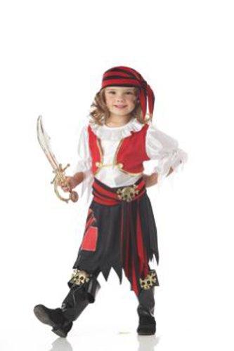 [Penny The Pirate Cute Kids Costume (Black/White/Red;Medium (3-4))] (Cute Girls Pirate Costumes)