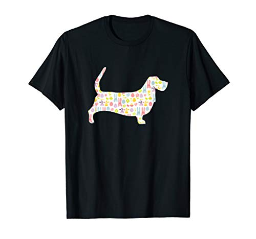 Basset Hound Easter Bunny Dog Silhouette T-Shirt