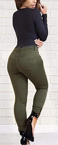 Elásticos Vaqueros Pantalones Casuales Mezclilla Mujer De Cintura Delgada Huixin Normal Stretch Grün1 Pantalón xXBqawnC
