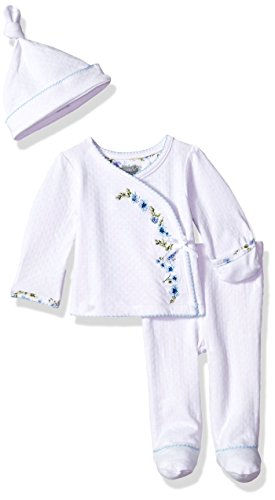 Mud Pie Baby Girls Embroidered Take Me Home 3 Piece Set, Blue, (Girl Kimono Set)