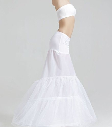 MISSYDRESS Floor-length Dress Gown Slip Mermaid Fishtail Petticoat White S/M