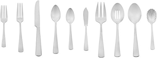 AmazonBasics 45-Piece Stainless Steel Flatware Silverware Set with Square Edge, Service for 8