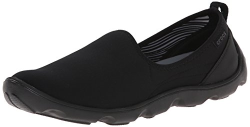crocs Women's Duet Busy Day Shoe,Black/Black,6 M (Croc Tab)