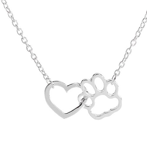 Necklace For Women Personalized Fashion Jewelry Crystal Rhinestone Dog Paw Sliver by (Sterling Crystal Twenty Light)