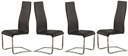 (Wexford Upholstered Dining Chairs Black and Chrome (Set of 4))