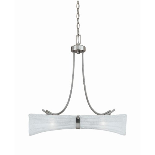 - 31552 Bali 2LT Linear Pendant, Brushed Steel Finish with White Piastra Glass
