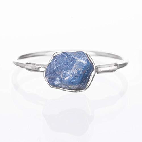 Silver Sapphire Ring, Raw Gemstone, Size 5, September Birthstone ()