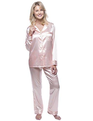Noble Mount Classico Conjunto Pijama de Satén para Mujer Coral