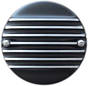 FORK エアクリーナーカバー Slip-On Cover, 7フィンブラックフラット SUキャブ、ハーレー用 1139-61B