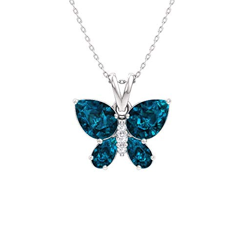 Diamondere Natural and Certified London Blue Topaz and Diamond Butterfly Petite Necklace in 14k White Gold | 1.11 Carat Pendant with Chain ()