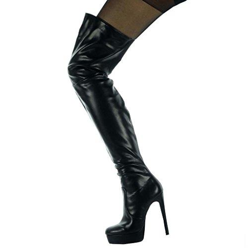 Moda Coscia Femminile Avvio Cm Nero Lucido 13 Alto Soft Scarpe Tacco Blocco Angkorly tqSE5qw