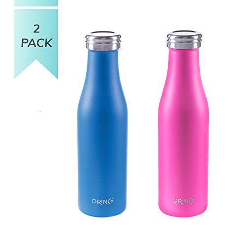- Drinco Stainless Steel Vacuum Insulated Water Bottle   Slim   Double Wall   Wide Mouth   Triple Insulated   Powder Coated Durability  18/8 Grade   17oz (Pink/Blue, 17oz Slim)