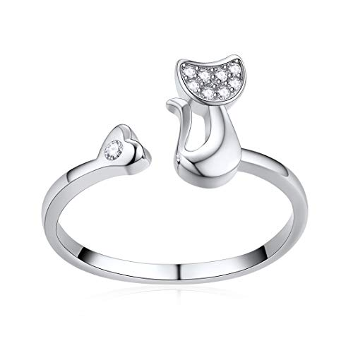 ChicSilver 925 Sterling Silver Rings Cute Cat Animal Vintage Ring for Women Girls ()