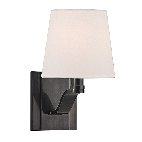 Clayton 1-Light Wall Sconce - Old Bronze Finish with Linen Shade - Hudson Valley Metallics
