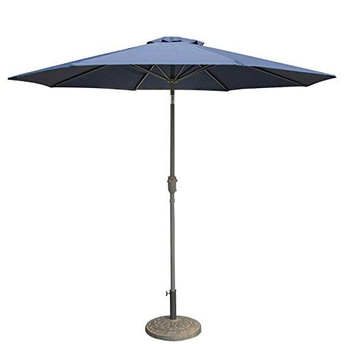 CASUN GARDEN 9 Ft Patio Umbrella Market Outdoor Table Umbrella with Push Button Tilt and Crank, Navy Blue