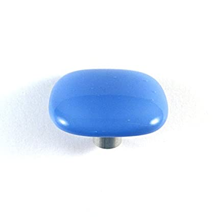 Cornflower Blue Glass Cabinet Knob   Colormax Collection (118 Colors)  Rounded Square Blue Glass