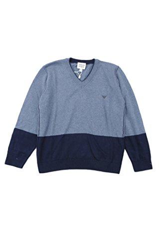 ARMANI JUNIOR Big Boys' V-Neck Sweater -16 -BLUE/NAVY