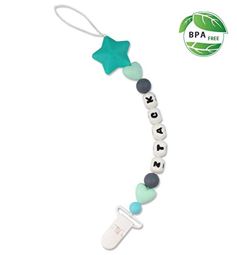 Pacifier Clip, Ztacking Pacifier Clip Teething Holder Silicone Teether Toys Holder Chain Fits All Pacifiers & Soothers, 2 Type of Materials Fabric & Silicone Teething Beads Baby Shower Gift (Blue)