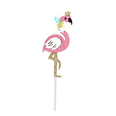 OULII Flamingo Cake Toppers Cupcake Picks Baby Shower Birthday Party Favors Wedding Cake Decor