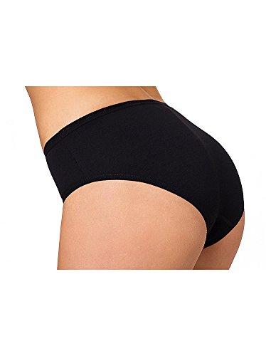 Conte elegant Women's Plus Size Comfort Cotton Bikini Panties, Black, 3X-Large