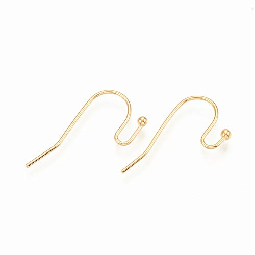 18k Gold Plated French Hook Earring Findings Wires for Jewelry Making (22mm)