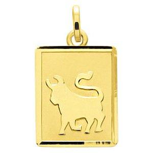 So Chic Bijoux © Pendentif Zodiaque Plaque Rectangulaire Signe Astrologique Taureau Or Jaune 750/000 (18 carats)