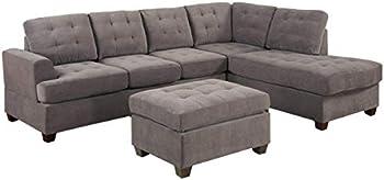 UDKTSOFAS 3 Piece Modern Reversible Grey Charcoal Sectional Sofa