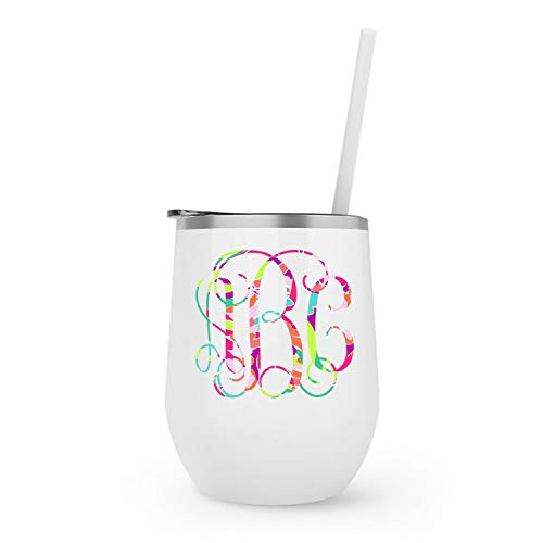 Monogrammed Stainless Steel Wine Tumbler | Lilly Inspired Vinyl Decal | Personalized with your Initials |12oz White Powder Coated Double Wall Vacuum Insulated ()