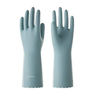 LANON Wahoo Series Waterproof Dishwashing Gloves, PVC Ultra-Thin Reusable Household Cleaning Gloves, Unlined, Non-Slip, DEHP Free, Intertek Listed, Medium