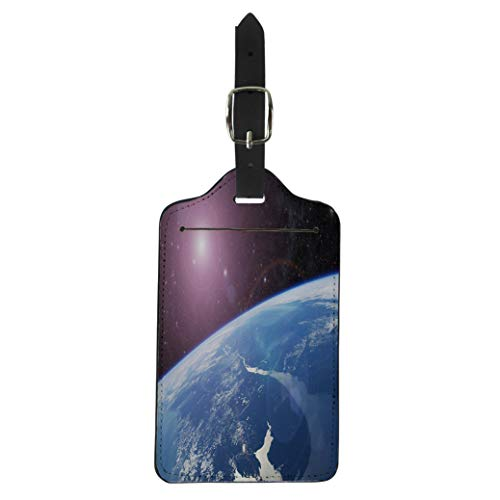 (Semtomn Luggage Tag Blue Atmosphere Planet Earth of This Furnished By Nasa Space Suitcase Baggage Label Travel Tag Labels)