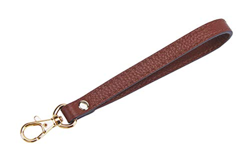 SeptCity Wristlet KeyChain Cellphone Leather Hand Strap with Golden Lock(Coffee) (Monogram Clutch Wristlet)