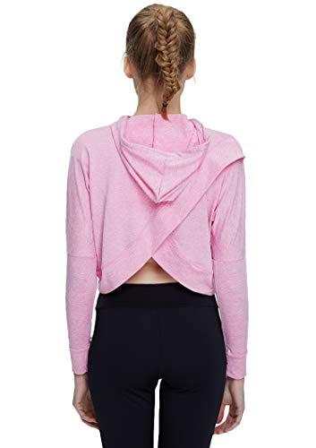 Helisopus Women's Sports Fitness Workout Long Sleeve Crop Top Shirt Hoodie Drawstring Loose Pullover Sweatshirt Pink