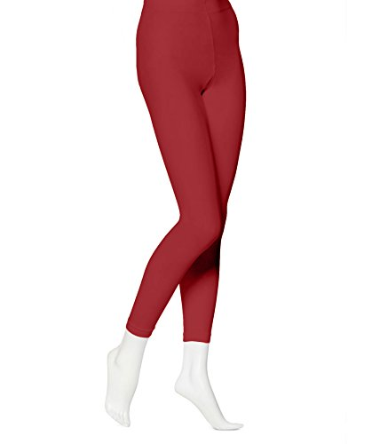 (EMEM Apparel Women's Ladies Solid Colored Seamless Opaque Dance Ballet Costume Full Length Microfiber Footless Tights Leggings Stockings Red)
