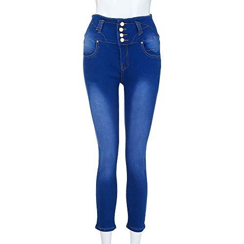 Femme Denim Longueur Slim Stretch Mollet Pantalon Skinny Jeans Bleu Haute Fonc Taille Jeans conqueror RZwfR
