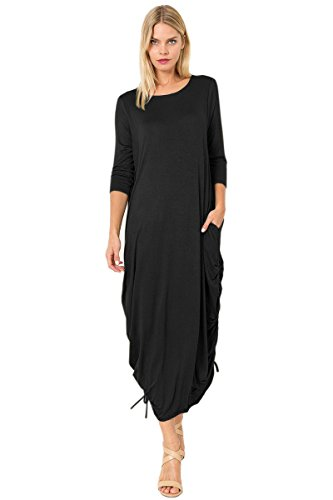 (12 Ami Gathered Side Drape 3/4 Sleeve Pocket Maxi Dress Black L)
