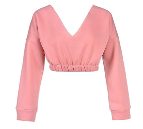 Tops Unie V Hauts Printemps Longues Blouse Femmes Automne Court T Shirts Profond Pullover Rose Sweat Manches Casual Col Jumpers Shirt Couleur Pulls rZx6AZwYqW