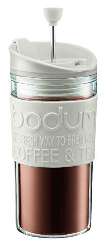 Travel Bodum Press (Bodum K11102-913 Travel Press Set Coffee Maker with Extra Lid, 12 oz, White)