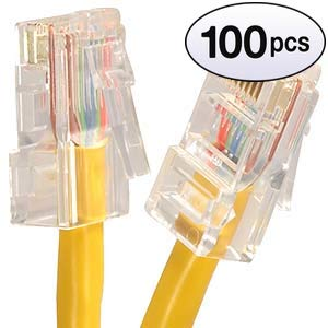 GOWOS (100 Pack) Cat6 Ethernet Cable (10 Feet - Yellow) - 24AWG Network Cable with Gold Plated RJ45 Non-Booted Connector - 10 Gigabit/Sec High Speed LAN Internet/Patch Cable - 550MHz ()