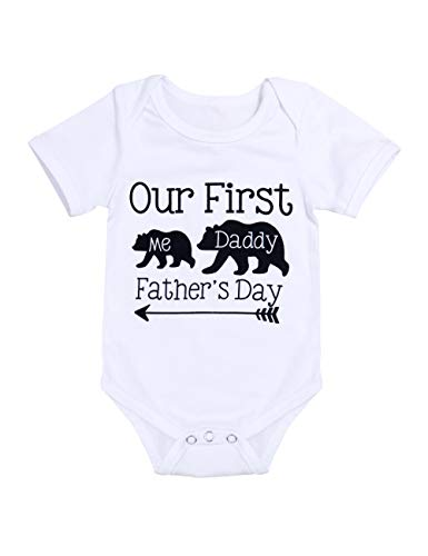 Our First Father's Day Outfits Newborn Baby Boy Girl Bodysuit Short Sleeve Jumpsuit Romper 0-3 Mo White