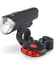 Dansi StVZO LED Fahrrad-Akkuleuchtenset, Set mit Vorder-und Rücklicht, umschaltbar zwischen 60/30/15 Lux, Regen-und stoßfest, 44002, schwarz