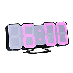Decdeal Alarm Clock 3D Wireless Remote Digital RGB LED Clock USB Powered Time/Temperature/Date Display 115-Color Changing 3-Level Brightness Sound Control Wall Desktop Clock